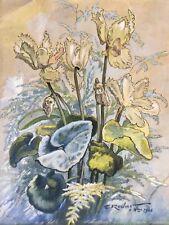 Ecole française du XXe.Bouquet1946.Aquarelle,encre et pastel.SBD..35x29.