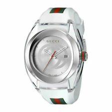 Gucci YA137102 Chronograph Unisex Silicone Strap Watch - Silver
