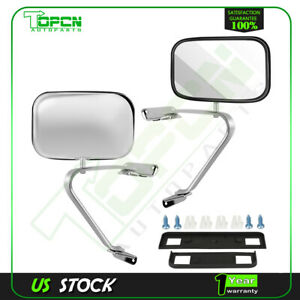 Left+Right Manual Side View Mirrors Pair For 80-96 Ford F150-F350 Truck Pickup
