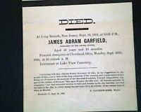 Rare President JAMES GAFFIELD Fremont, Ohio Mayor DEATH Announcement Notice