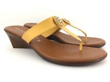 Contesa Italian Shoemakers Womens Wedge Sandals Size 12 Yellow Gold Thong Wedges