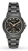 Citizen Eco-Drive Silhouette Women's Crystal Accents Black 36mm Watch FD2047-58E