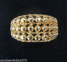 9ct Gold Three Row Keeper Ring, Size P, US 7 3/4
