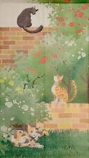 JAPANESE Noren Curtain CAT ROSE MISHIMAYUKARI NEW 85x150cmn MADE IN JAPAN