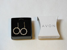 Ladies Womens Avon Pave Open Circle Earrings Goldtone F3764581 NIP;;