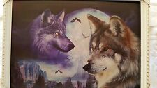 Framed 3D Art 2 Change 2 pictures in one Wolves & Tigers HD picture 35x50cm New