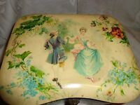 ANTIQUE  VICTORIAN FRENCH COURTING COUPLE PANSY FLORAL BIG CELLULOID COLLAR BOX