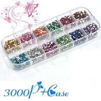 3000PCS 1.5mm Round 12 Color Glitter Rhinestone for Nail Art Tips Decoration Set