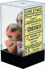 Chessex Festive Circus w/ Black Polyhedral 7 Dice Set CHX27442