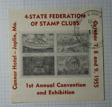 4 State Federation Of Stamp Club Show 1955 Joplin Mo Philatelic Souvenir Label