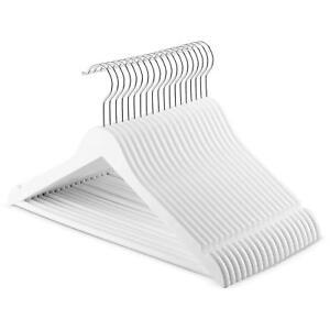 Modern Wood-Look Plastic Coat Hanger 20 Pack White
