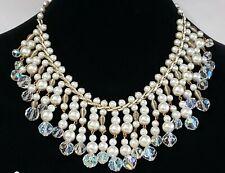 Franklin Mint Jackie Kennedy Pearl Crystals Jewelry Set Necklace, Earrings & Coa