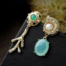 Ocean Theme Conch Coral Shell Pearl Green Gem Summer Beach Holiday Earrings