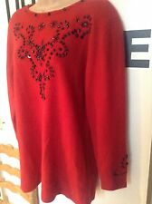 BNWT Vintage St Michael Red Angora & Lambswool Beaded Long Jumper Size 14 Ladies