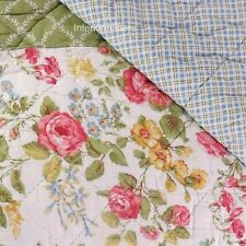 LAURA ASHLEY Floral Patchwork FULL QUEEN QUILT green pink blue COTTON new