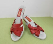 Vintage 80's Candie's Red Leather Wedge Sandals Slides Shoes Size 7 Medium