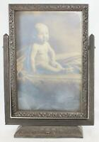 Antique-Wood-Table-Swivel Picture Frame-w/Baby-Early 1900-Arts & Craft-Milwaukee