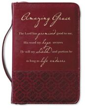Amazing Grace Italian Duo-Tone Rich Red Cover Large Bible Cover Brand New