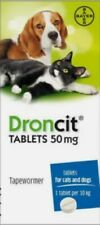 More details for 4 droncit tablets cat and dog tapeworm dewormer worming tablet - super price