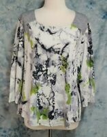 Parsley & Sage Womens sz XL White Black Abstract Heather Gray Square Neck Top