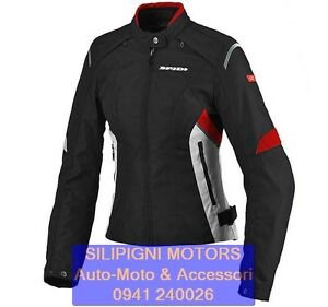 SPIDI FLASH TEX LADY T198 NERO-ROSSO 021 Giacca Moto Donna in tessuto