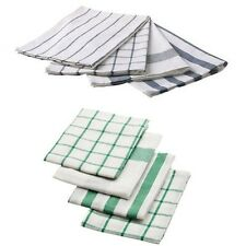 IKEA ELLY Lined Striped Check Patterned Cotton Tea Towel 4 Pack blue & green