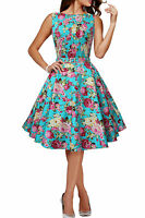 Factory Seconds Audrey Floral Full Circle Rockabilly Swing Prom Dress Size 8 -22