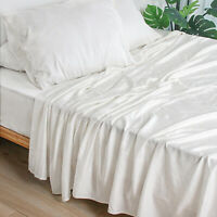 100% Bamboo Sheet Set Deep Pocket Cool White Sheets Twin Full Queen King Size