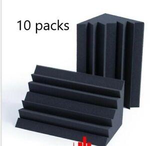 "10-PACK 10""x5""x5"" Acoustic Foam Bass Trap Studio Soundproofing Corner Wall"