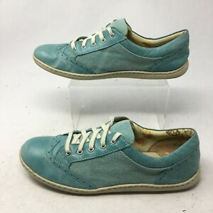 Born Women 11 Casual Oxford Sneakers Comfort Shoes Blue Leather Low Top Wing Tip
