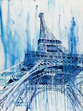 Giclée Paris Eiffel Tower Travel Large Big Huge Blue Modern Art Painting