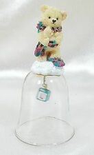 Vintage - Collector's - Teddy Bear Bell with Letter Block Glass Bell