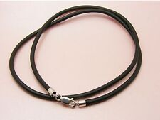 """~Custom Made~ 925 STERLING SILVER 3mm SILICON Rubber NECKLACE 61cm (24"""") ++ LONG"""