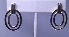 DOBBS STERLING SILVER DOUBLE OVAL DOOR KNOCKER PIERCED EARRINGS