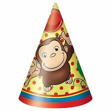 8 Curious George Happy Birthday Paper Party Cone Hats