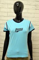 Maglia PUMA Donna Taglia Size 44 L Maglietta Shirt Woman Cotone Manica Corta Blu