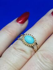 Beautiful Gold Tone & Turquoise Coloured Ring - Size O
