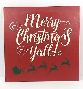 """Hand Painted Distressed Red Wooden Sign Merry Christmas Yall 12"""" x 12"""" w/ Santa"""