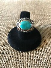 Sterling Silver Turquoise Multi Gemstone Ring Size 8