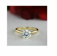 Engagement Ring 10K Yellow Gold 1.5Ct Round Brilliant Lab-Created Moissanite