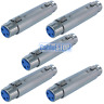 5 x 3 Pin XLR Female Socket to Plug Coupler Cable Joiner Connector Metal Adapter