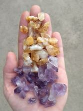 GemFarmer AC2: 1/4 Lb Lot Amethyst + Citrine Quartz Rough Crystal Points + Parts
