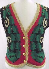 Vintage Ugly Christmas Sweater Women's Vest Norton McNaughton Petite