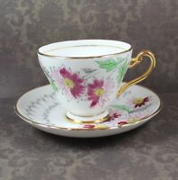 Vintage Tuscan English Bone China Pink Floral and Gray Tea Cup and Saucer