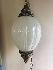 Vintage Antique  Pendant Swing  Lighting Fixture Chandelier Milk Glass -