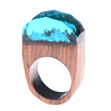 Handmade Wood Resin Ring With Magnificent Tiny Fantasy Secret Landscape Gift Fad
