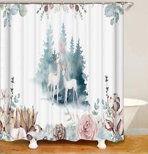 Shower Curtains cartoon fawn leaves plants roses bathroom waterproof