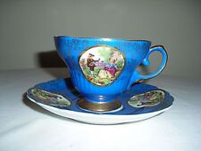 Vintage Japan Tea Cup Saucer Set Gold Decorated W/ Courting Couple Scene - Blue