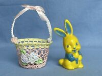 Vintage Irwin Plastic Bunny Rabbit Rattle Toy Yellow & Blue / Lace Easter Basket