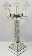 5 Arm Candelabra Silver Mirrored Sparkly Diamond Crush Crystal Large